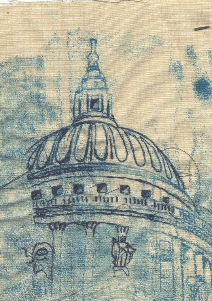 Wendy Dolan - print on fabric and machine stitch