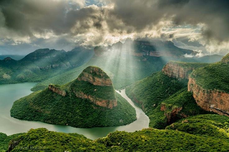 Blyde River Canyon, South Africa. This picture really speaks for itself, But what a shame that, like it states in the book, prejudice and hate keep the people from enjoying the incredible beauty of their land.