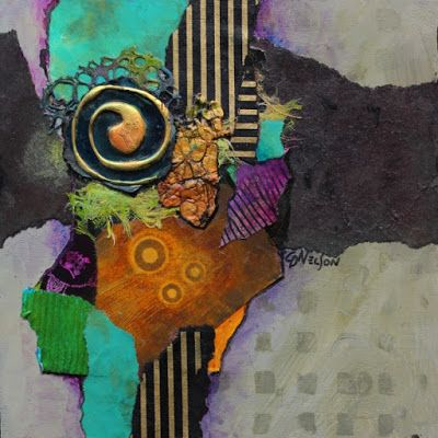 """Abstract Artists International: Abstract Mixed Media Collage, """"Imagine"""" by Carol Nelson Fine Art"""