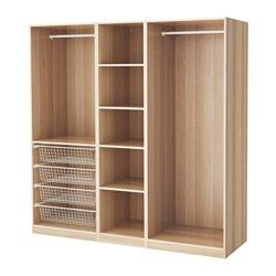 PAX Wardrobe, white stained oak effect - white stained oak effect - 200x58x201 cm - IKEA
