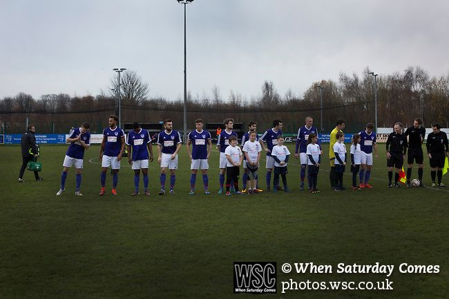 City of Liverpool 6 Holker Old Boys 1, 10/12/2016. Delta Taxis Stadium, North West Counties League Division One. The home team lines up on the pitch at the Delta Taxis Stadium, Bootle, Merseyside before City of Liverpool hosted Holker Old Boys in a North West Counties League division one match. Founded in 2015, and aiming to be the premier non-League club in Liverpool, City were admitted to the League at the start of the 2016-17 season and were using Bootle FC's ground for home matches. A…