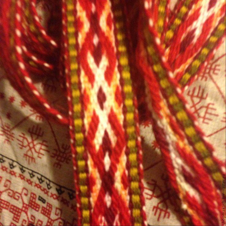 Купить народный пояс - ярко-красный, пояс, Ткачество, обережный узор, Женский народный костюм