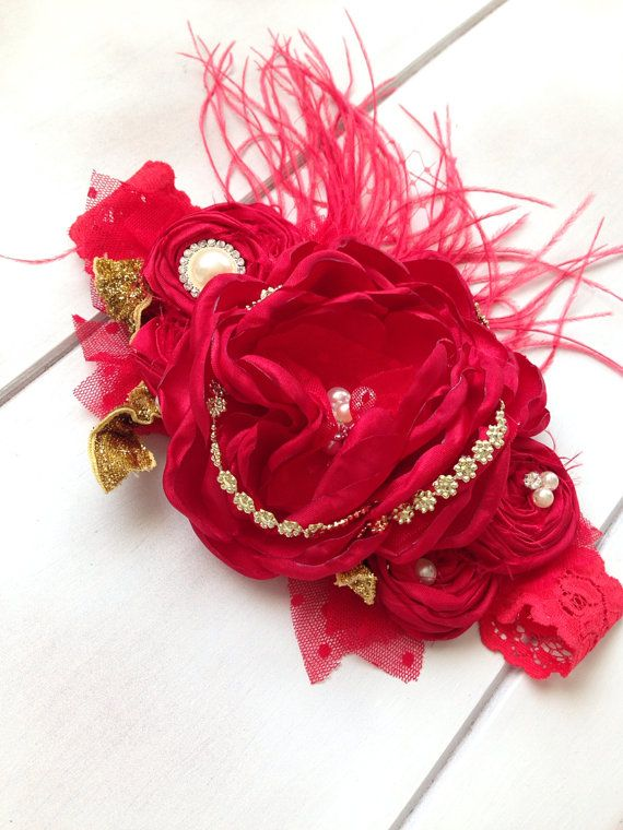 Red Christmas Headband Baby Headband by by IsabellaCoutureShop