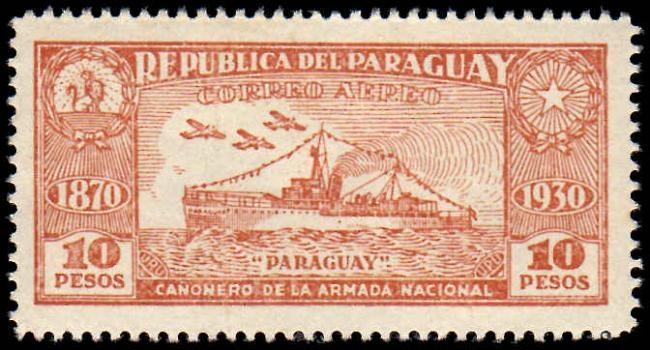 Sello de la Republica de Paraguay-Correo Aereo-Paraguay-Cañonera de la Armada Nacional