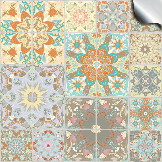 Pack of various traditional mosaic tile stickers TP 55