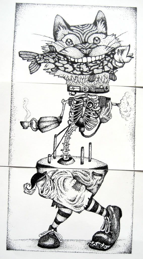 exquisit corpse. http://animalsleepstories.blogspot.com/2012/07/exquisite-corpse-drawings.html