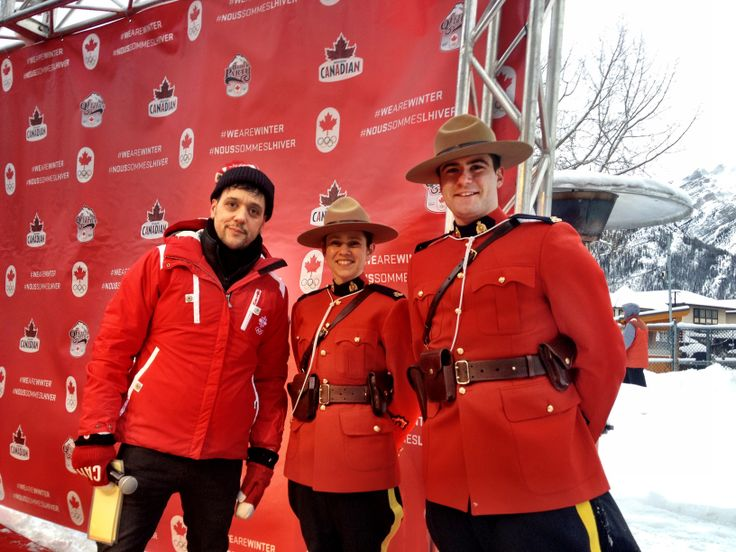 CBC's George Stoumboulopoulos visits with some RCMP at the Jan 11 'Block Party' on Banff Ave