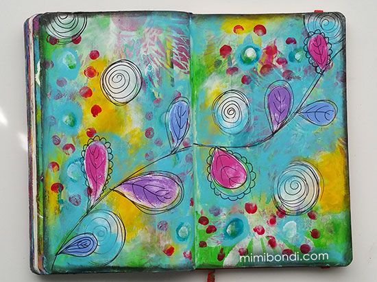 Mixed media painting tutorial with Mimi Bondi - Go with the Flow!