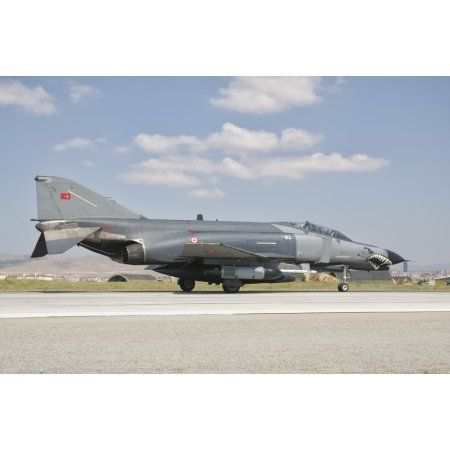 Turkish Air Force F-4 Phantom at Konya Air Base Turkey Canvas Art - Giovanni CollaStocktrek Images (17 x 12)
