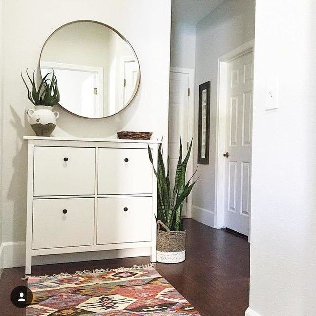 ikea hemnes shoe cabinet round mirror. good for dark living room??