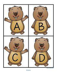 ***FREE***  Groundhog Day theme upper case alphabet large flashcards.