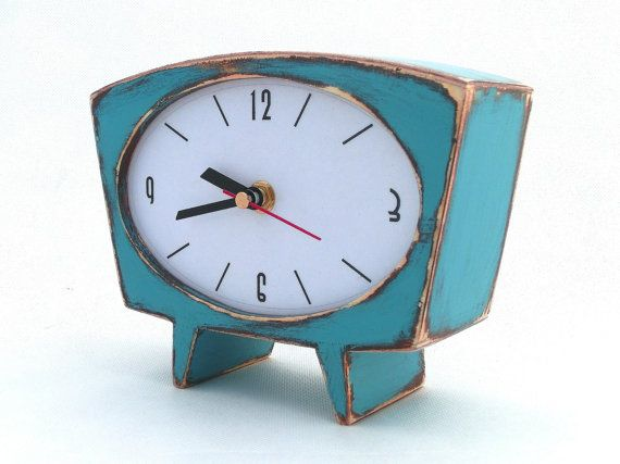 FREE SHIPPING  Table clock Desk Clock turquoise by ClockWoodStudio