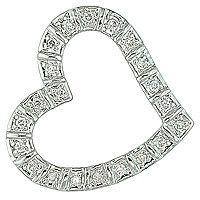 Diamond white gold heart pendant