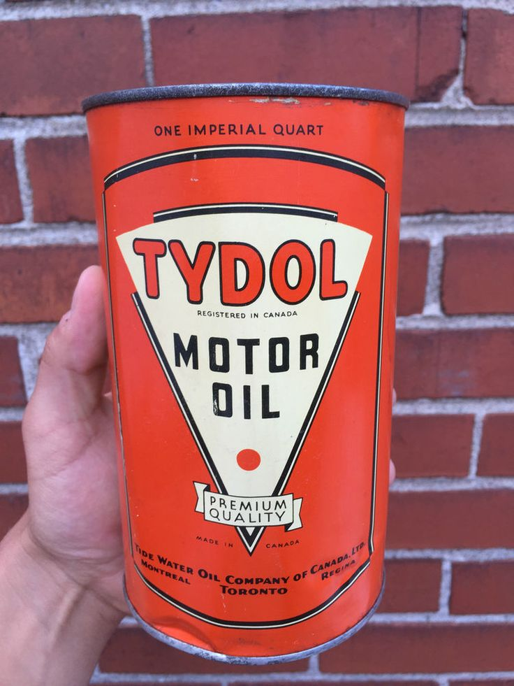 Extremely rare tydol tide water oil can tin imperial quart for Water in motor oil