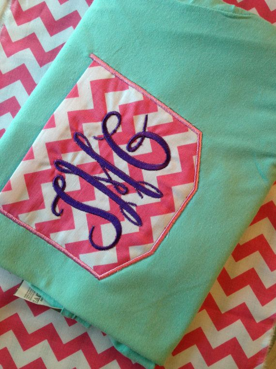 Chevron Pocket Tee with Monogram on Etsy, $20.00 .... @Alex Heath Rogers what was that video you sent me last week? hahahaha