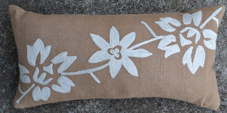 Burlap Floral Vine 10x20 PIllow [#1081] -  : Goemdee