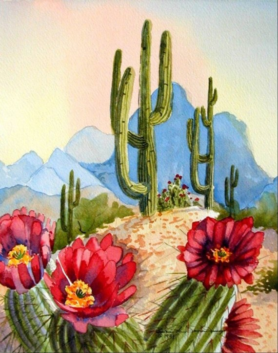 FLORAL CACTUSBlooming Cactus art print of by BarbaraSpencerJump