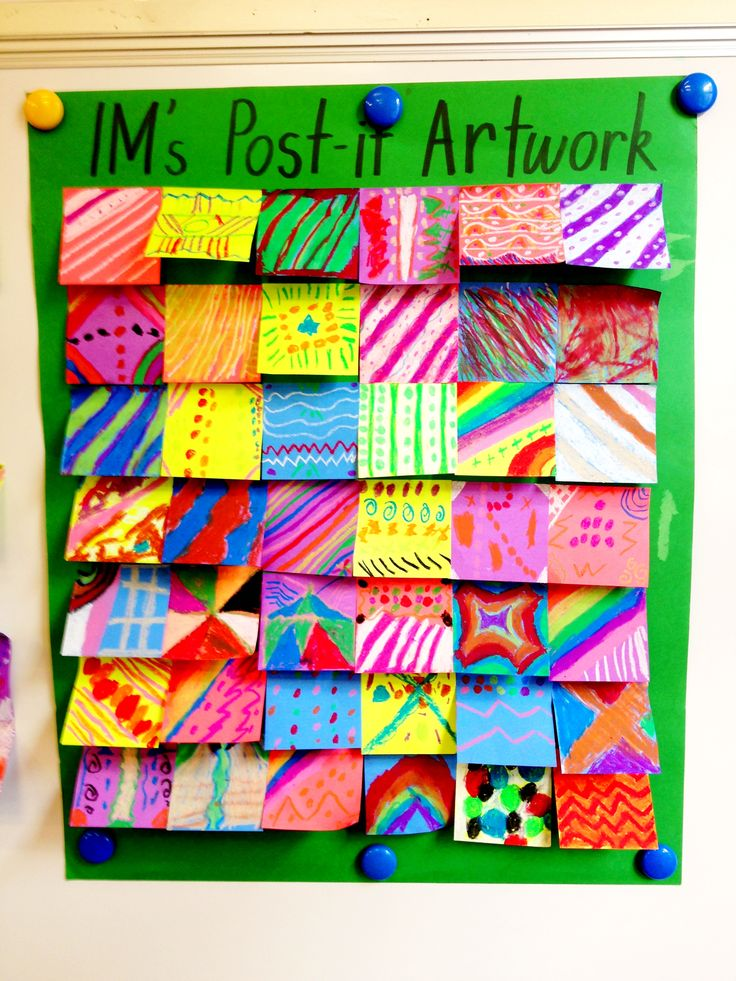 As a culminating activity for elements of art (line, color etc) Collaborative Post-It Art - Early Finishers - love it for extensions on each unit for students who finish early. Can create prompts at the beginning of the unit and have it posted over the post-it board! All age levels