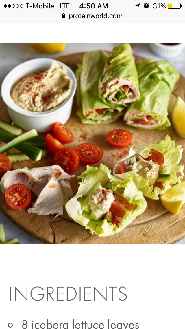 HEALTHY CHICKEN LETTUCE WRAPSHealthy Chicken Lettuce WrapsINGREDIENTS 8 iceberg lettuce leaves 4 x chicken breasts, cooked and sliced ½ cucumber, sliced 8 Cherry tomatoes, chopped in half 4 tbsp hummus 1 lemon, juice sprinkle of paprika METHOD Top a lettuce leaf with a slice of turkey breast, cucumber, 2 chopped cherry tomatoes, 1 tbsp hummus, a squeeze of lemon juice and a sprinkle of paprika. Wrap it up with another piece of lettuce. Repeat for the remaining ingredients Makes 4