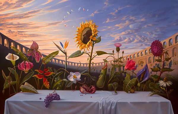 I find the surrealist art of Vladimir Kush to be fun so it goes on my fun list. Here's a Last Supper in flowers!