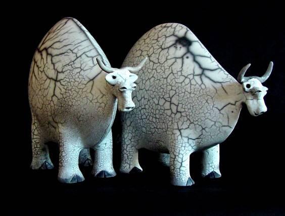 Love these ceramic cows made by Jan Saarloos.