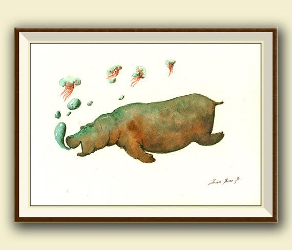 Hippo study. Hippo swimming in africa. Underwater hippo art wall. Hipopotamus painting print decor.    Frame and mat not included, just the