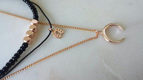 Crescent Moon Layered Necklace / Layered Choker / Rose Gold  #crescentmoonnecklace #rosegoldnecklace #mooncharmnecklace #beadednecklace #layerednecklace