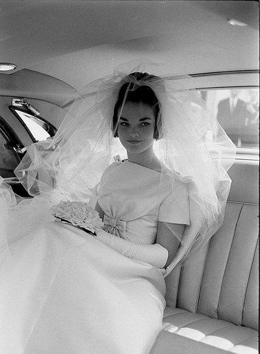 Original 1960s bride - simple dress and lots of veil. The way to do it!