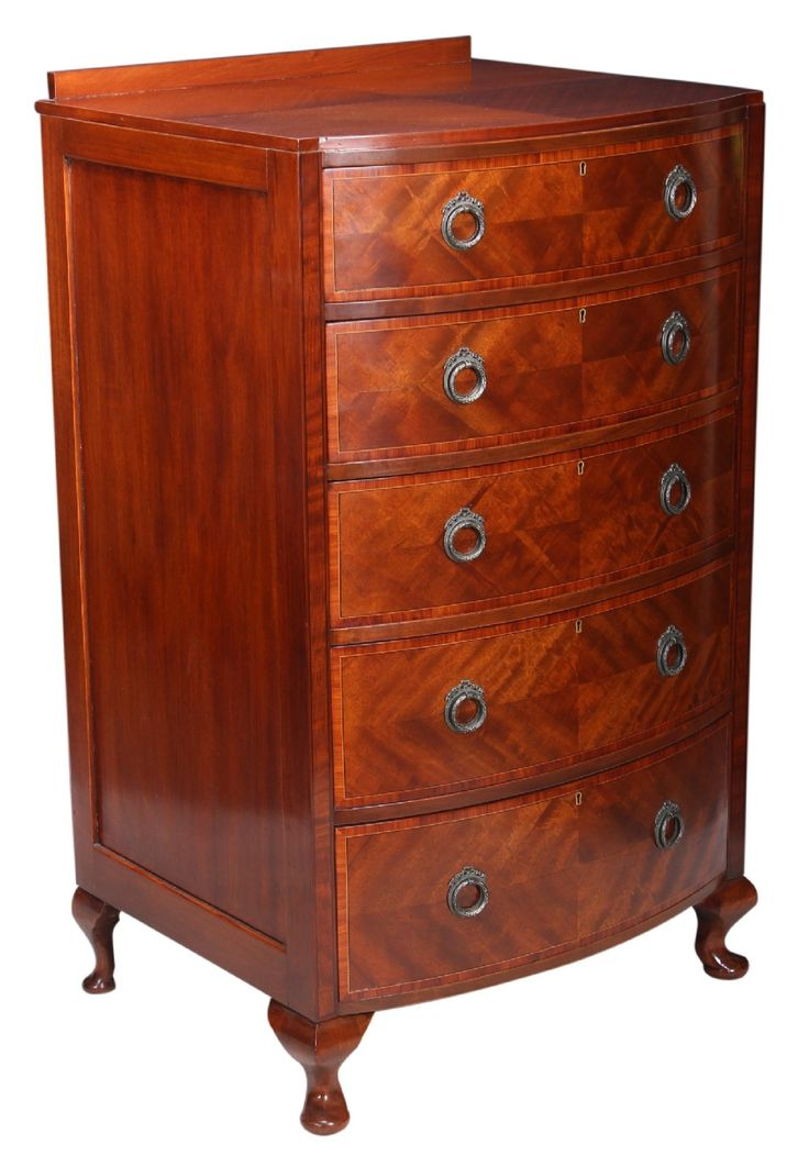 Slim Bow Fronted Mahogany Chest
