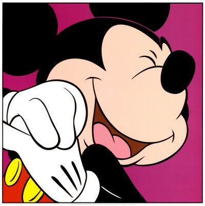 Mickey Mouse close up smiling with eyes closed art print.   Click to buy this art print!