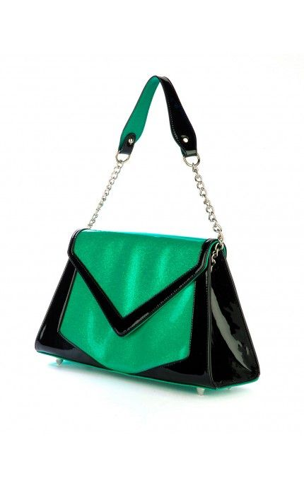 Pinup Couture- Chevron Purse in Green Glitter Vinyl and Black Trim | Pinup Girl Clothing