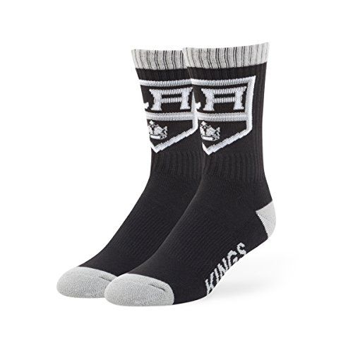 NHL Los Angeles Kings Men's '47 Bolt Casual Dress Crew Socks, Large, 1-Pack