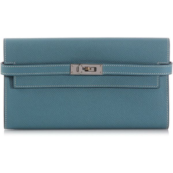 Hermès Blue Jean Kelly Wallet (€2.135) ❤ liked on Polyvore featuring bags, wallets, blue wallet, flap wallet, flap bag, hermes bag and hermes wallet