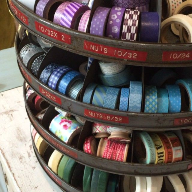 Vintage nuts & bolts rotating bin for Washi tape storage