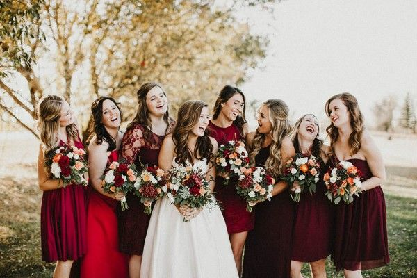 Orange And Cranberry Wedding At South 40 Bridesmaid Style Fall