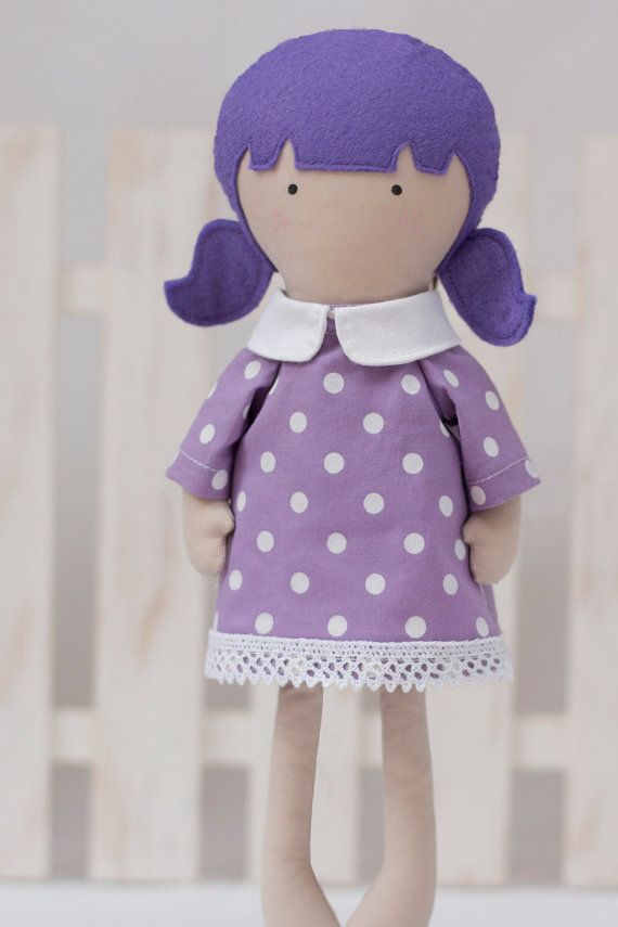 Girl Doll Clothes Lilac White Dotted Cotton Dress by RibizliDesign