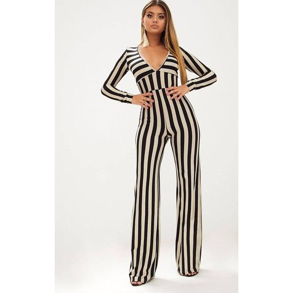 Gold Striped Long Sleeve Plunge Jumpsuit ($33) ❤ liked on Polyvore featuring jumpsuits, yellow, white long sleeve jumpsuit, long sleeve jump suit, yellow jump suit, party jumpsuits and going out jumpsuits