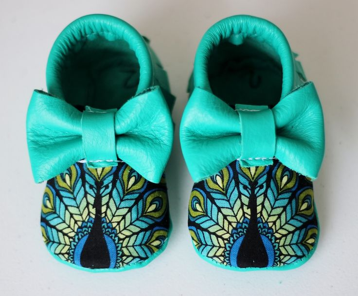 Peacock bow moccs baby toddler moccasins clothes shoes baby shower ideas baby…