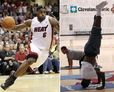 LeBron James... A really tall tripod headstand! :))