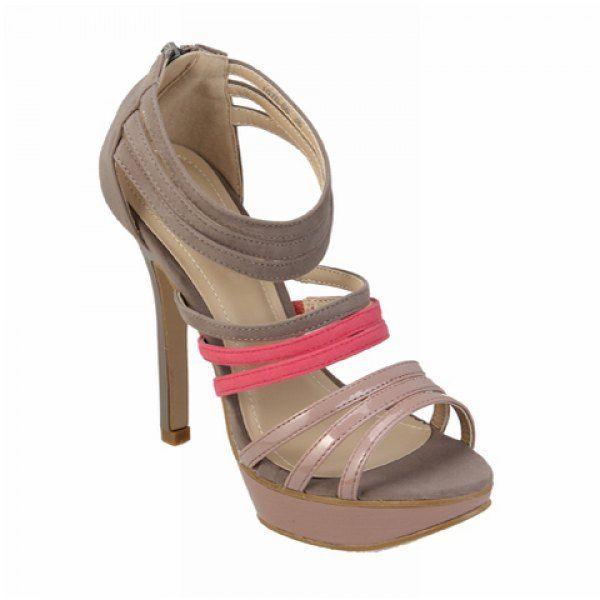 Party Color Block High Heel Women's Sandals With Straps Design, GREY/GRAY, 41 in Sandals | DressLily.com