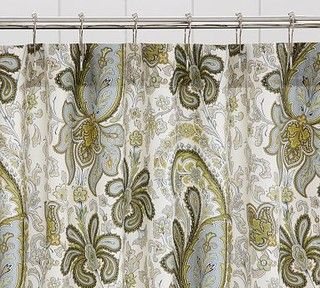 Charlie Paisley Organic Shower Curtain, Red - traditional - shower curtains - by Pottery Barn