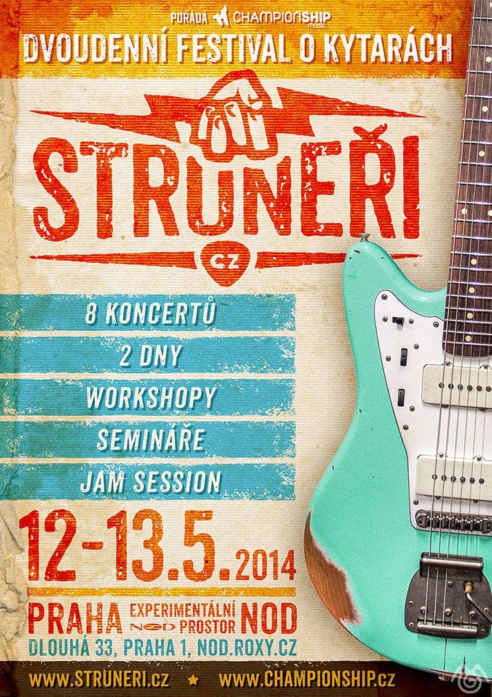 Struneři poster - Design by Maťo Mišík - www.matomisik.com  #jazzmaster #fender #guitar #relic #retro #vintage #logo #logotype #struneri #poster