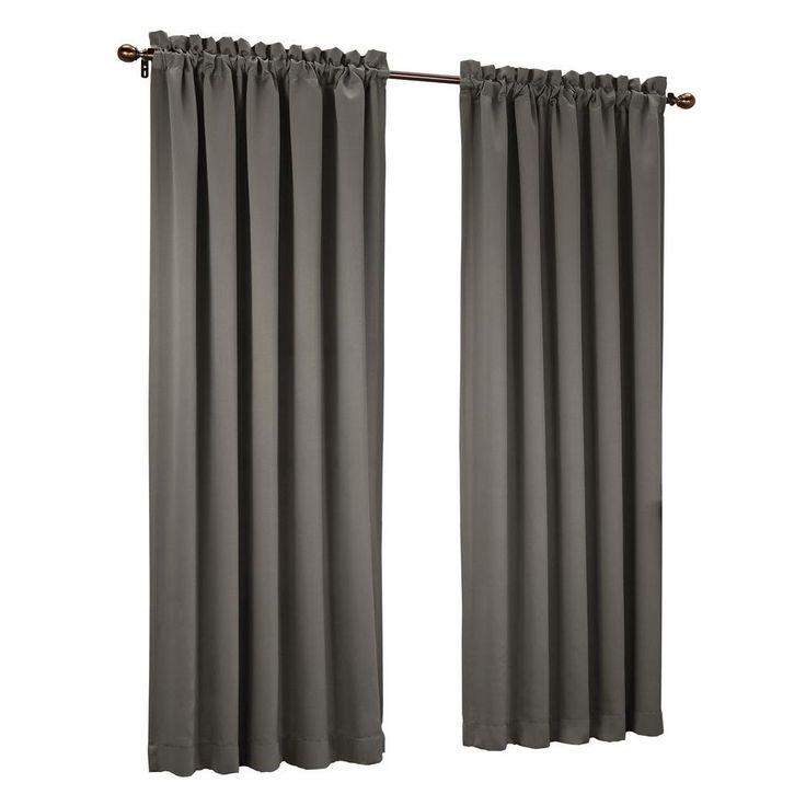 Sun Zero Steel (Silver) Gregory Room Darkening Pole Top Curtain Panel, 54 in. W x 95 in. L
