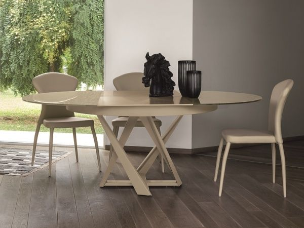 Target Point Cronos Glass And Metal Extending Round Dining Table