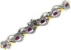 "Sterling Silver Genuine Ruby & Diamond Accent Heart & ""X"" Bracelet LEAH HANNA. $59.99. Save 45%!"