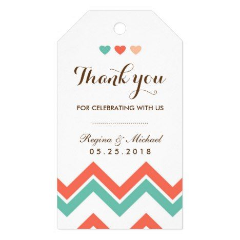 Aqua Coral Red Chevron Pattern Wedding Gift Tag #chevron #craft #supplies