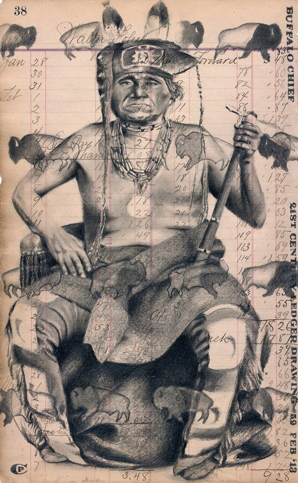 """Chicago-based Chris Pappan, Kaw, for winning 1st place in Division C - Drawings (pen, pencil, charcoal, crayons, markers) at Heard Museum's 55th Indian Fair & Market (2013) for his """"Buffalo Chief""""."""