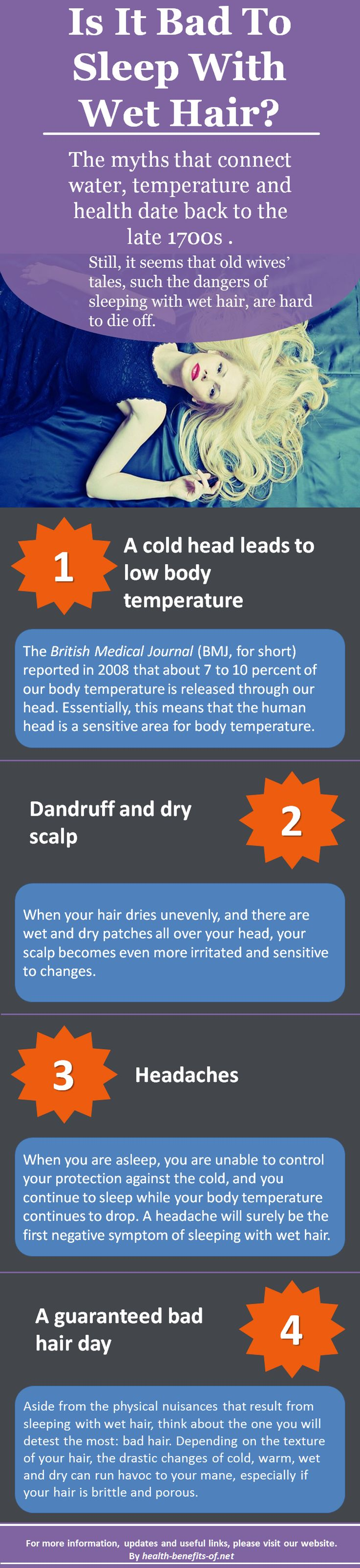 The myths that connect water, temperature and health date back to the late 1700s . Still, it seems that old wives' tales, such the dangers of sleeping with wet hair, are hard to die off...