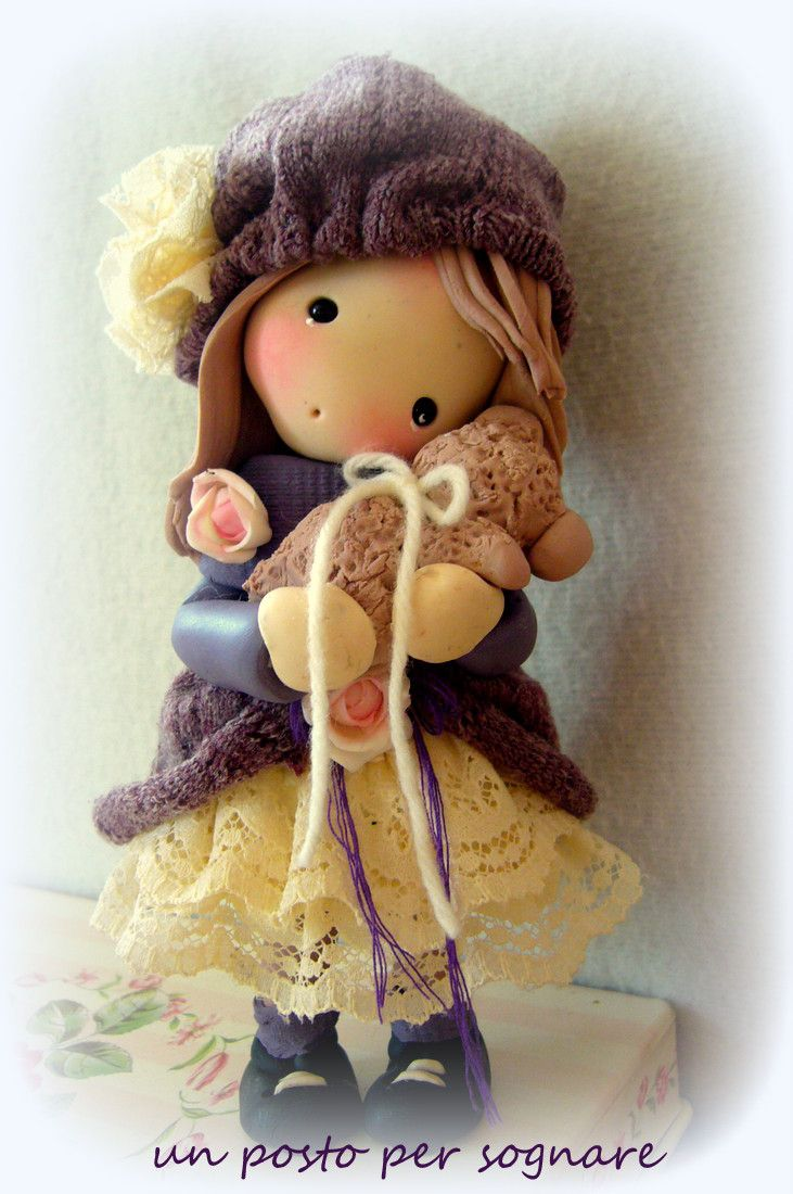 bamboline porcellana fredda,bambolina pasta mais,dolls,regalo.