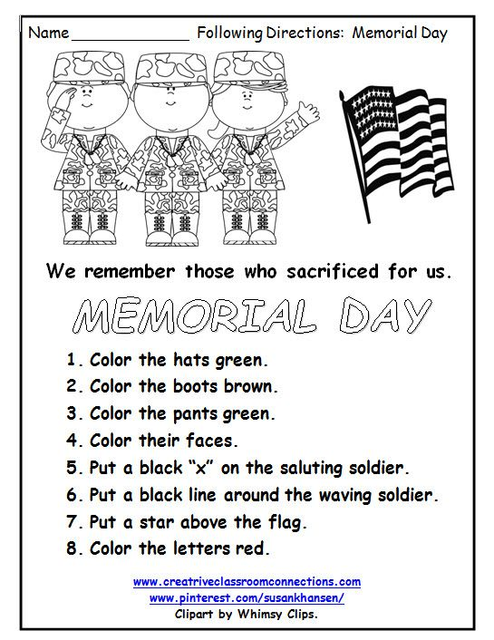 Memorial Day Worksheets 3rd Grade : Best images about following directions on pinterest
